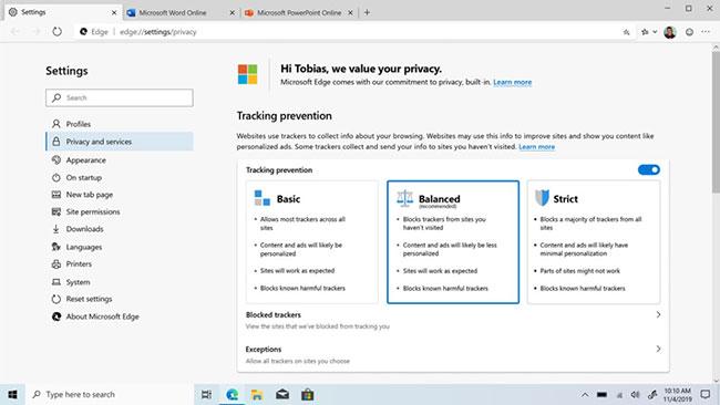 Microsoft Edge trình duyệt Interet tuyệt vời cho PC chạy Windows